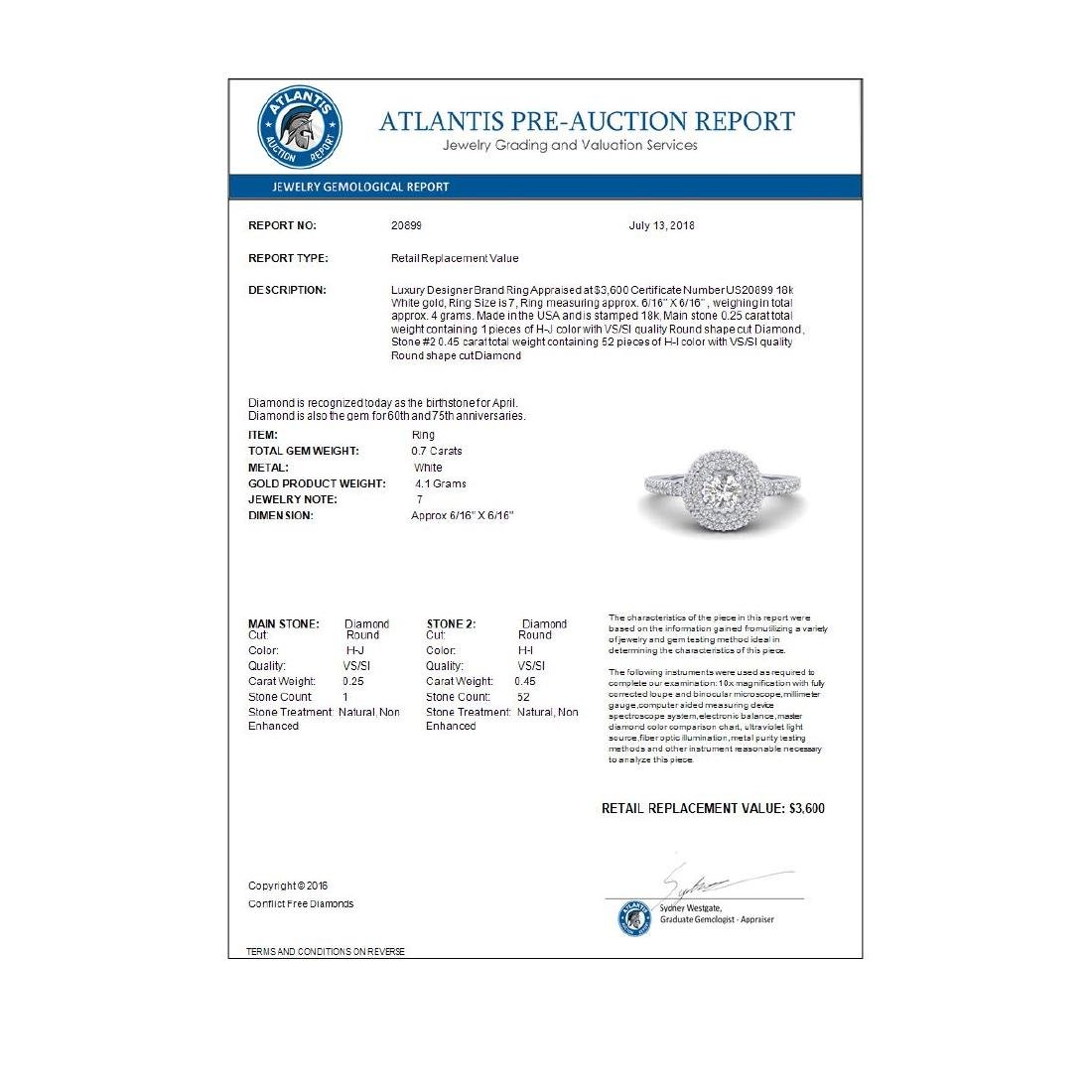 0.70 CTW Micro Pave VS/SI Diamond Designer Ring 18K - 3