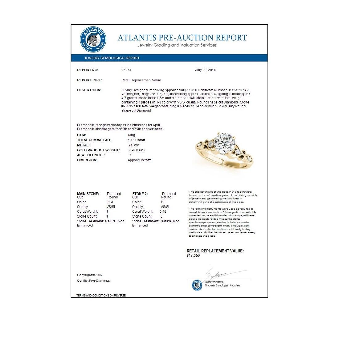 1.15 CTW Certified VS/SI Diamond Solitaire Antique Ring - 3