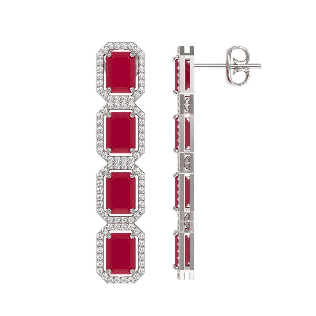 12.33 CTW Ruby & Diamond Halo Earrings 10K White Gold - 2