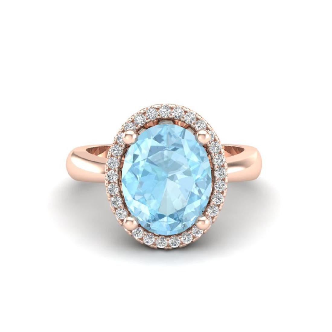 2.50 CTW Aquamarine & Micro Pave VS/SI Diamond Ring