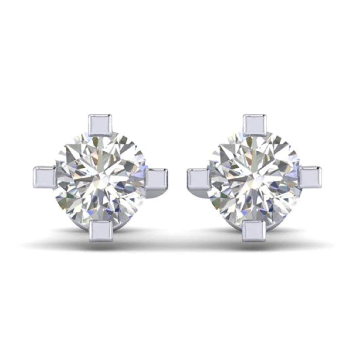 1 CTW Certified VS/SI Diamond Solitaire Stud Earrings