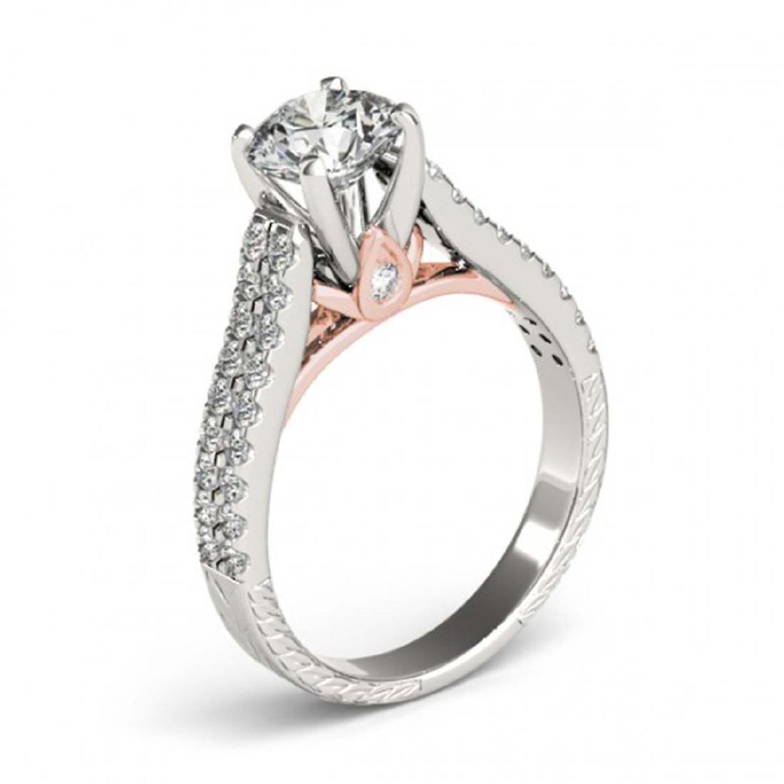 1.61 CTW Certified VS/SI Diamond Pave Ring 14K White & - 3