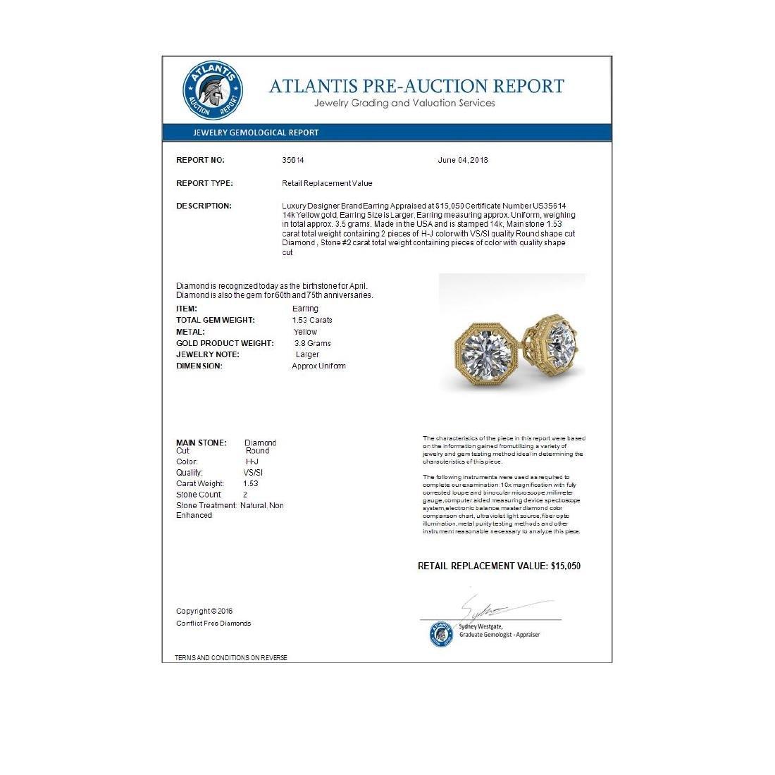 1.53 CTW Certified VS/SI Diamond Stud Earrings 14K - 3