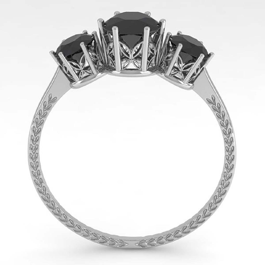 1 CTW Black Certified Diamond Art Deco Ring 14K White - 3