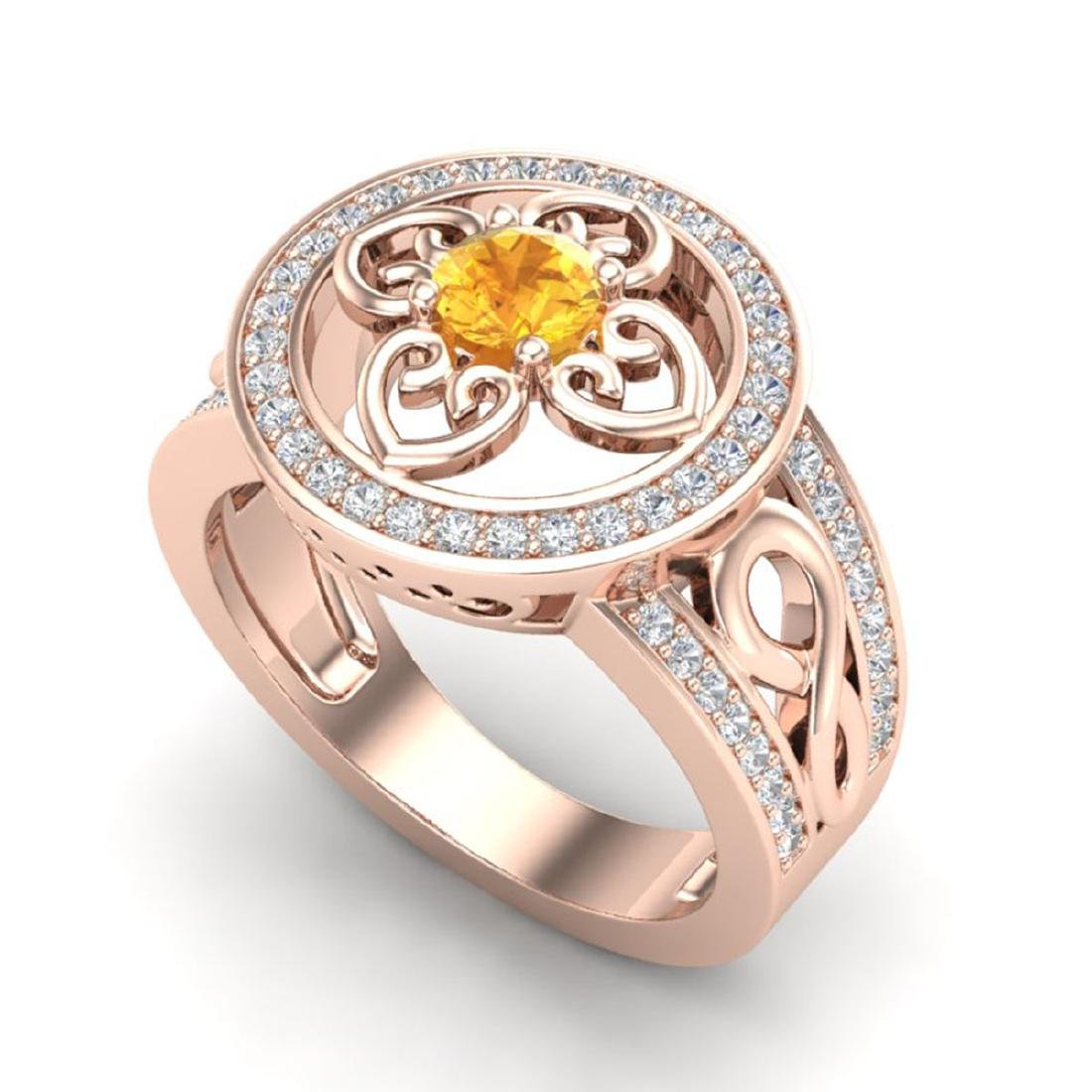 1 CTW VS/SI Diamond & Citrine Micro Pave Designer Ring - 2