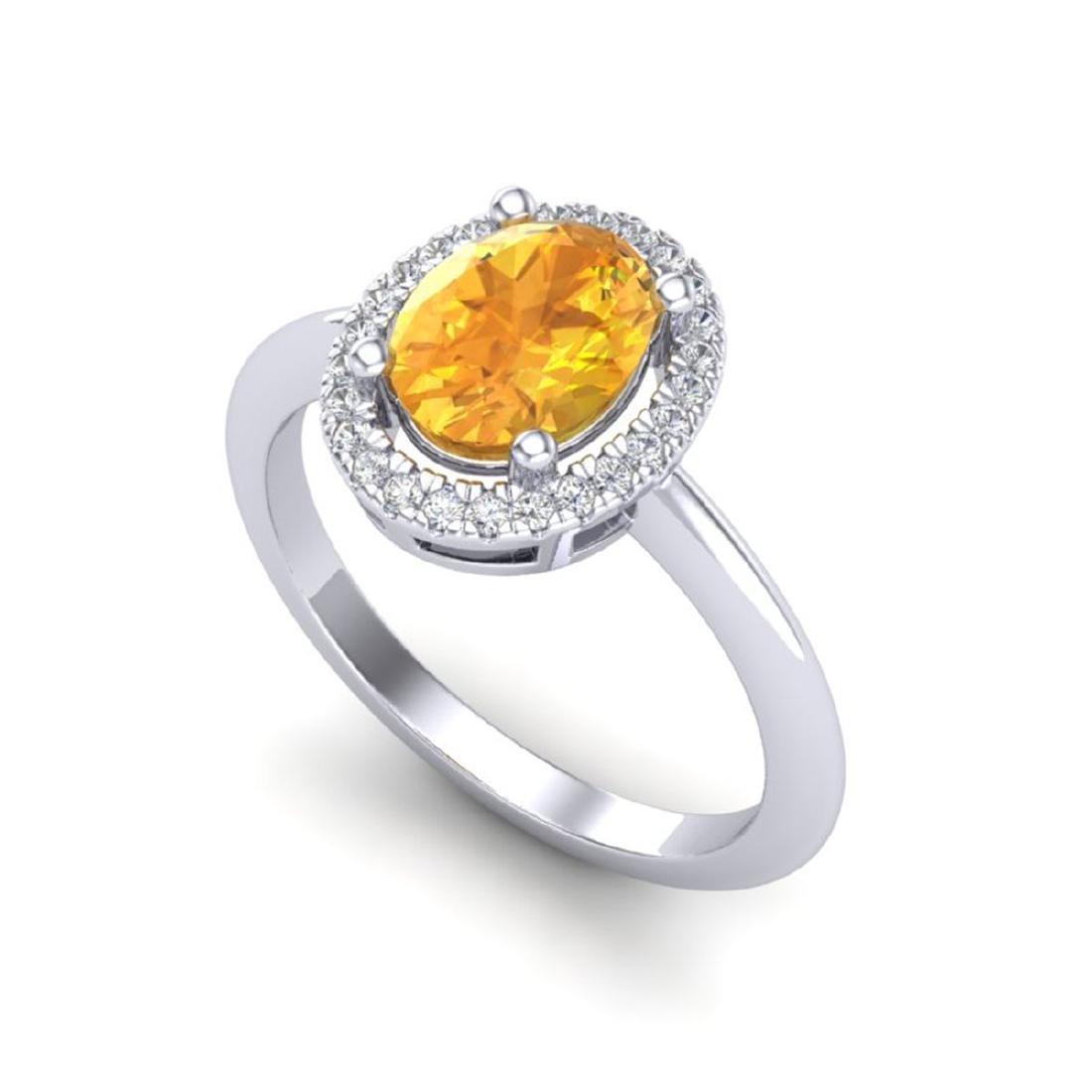 1.75 CTW Citrine & Micro VS/SI Diamond Ring Solitaire - 2