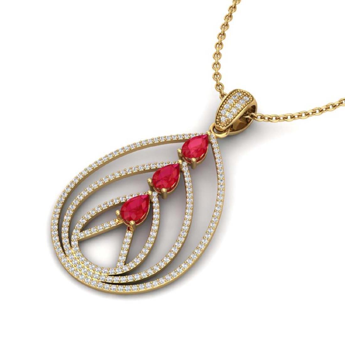 2 CTW Ruby & Micro Pave VS/SI Diamond Designer Necklace