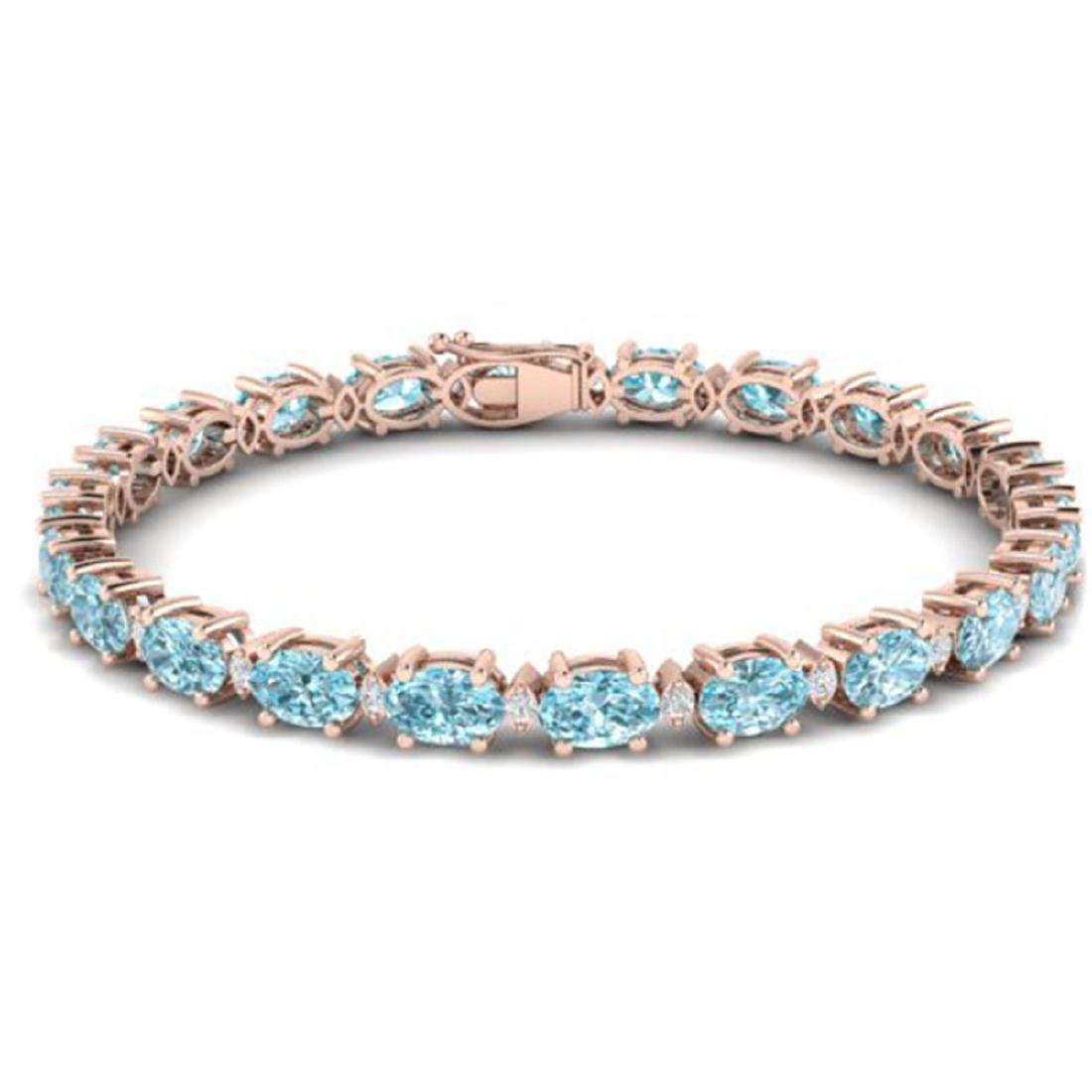 14 CTW Sky Blue Topaz & VS/SI Diamond Eternity Bracelet - 2