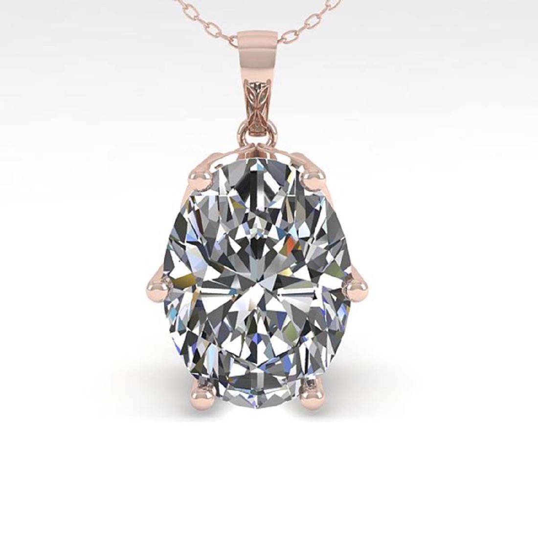 1 CTW Certified VS/SI Oval Diamond Art Deco Necklace - 2