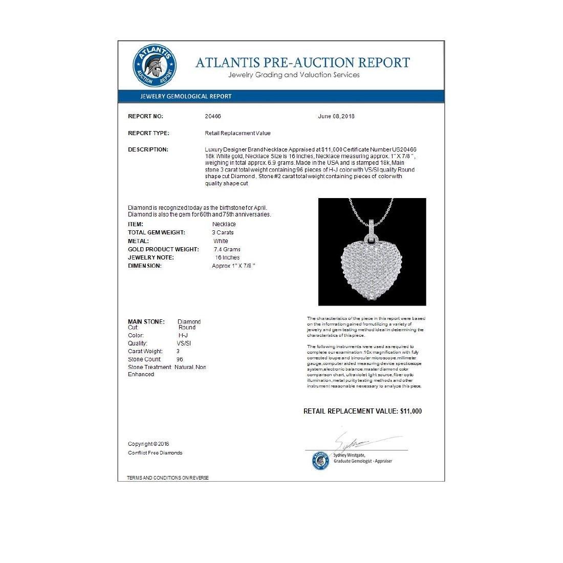 3 CTW Micro Pave VS/SI Diamond Designer Heart Necklace - 3