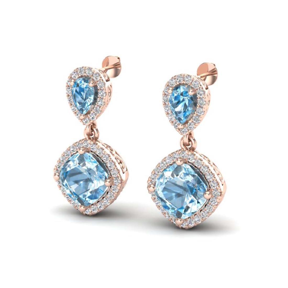 7 CTW Sky Blue Topaz & VS/SI Diamond Earrings Halo Gold