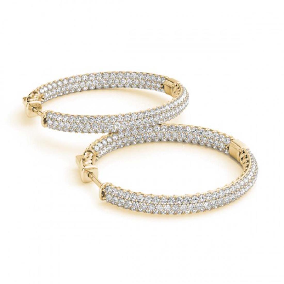 2.5 CTW Diamond VS/SI 25 Mm Hoop Earrings 14K Pave Gold