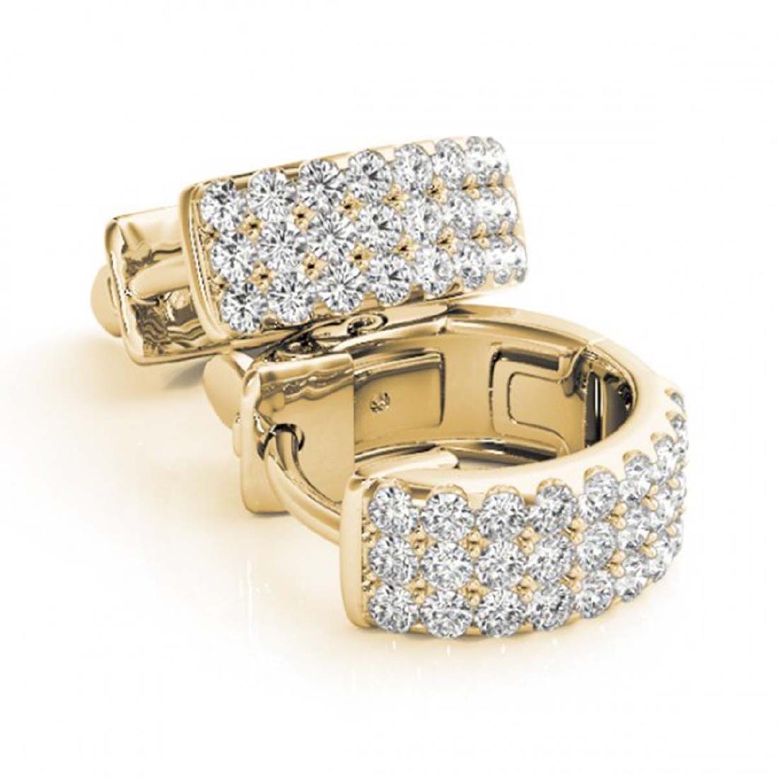 0.70 CTW Diamond VS/SI 16 Mm Hoop Earrings 14K Pave