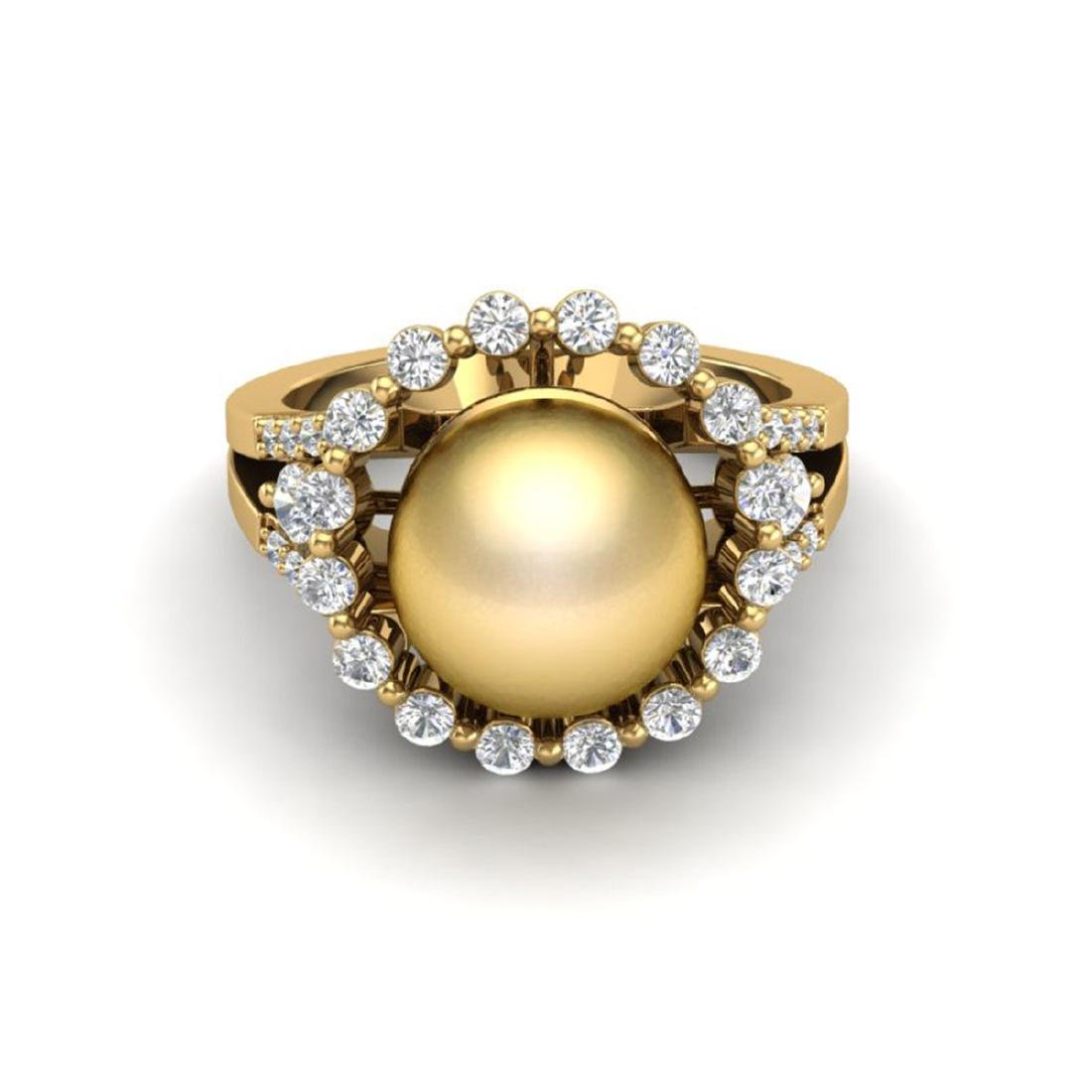 0.83 Ct VS/SI Diamond & Golden Pearl Halo Ring 18K Gold
