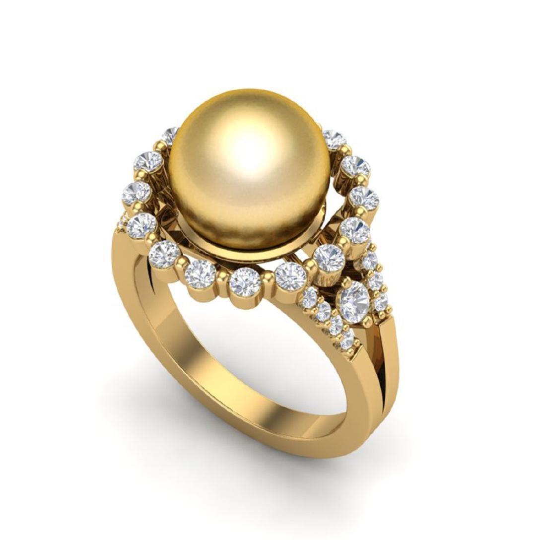 0.83 Ct VS/SI Diamond & Golden Pearl Halo Ring 18K Gold - 2