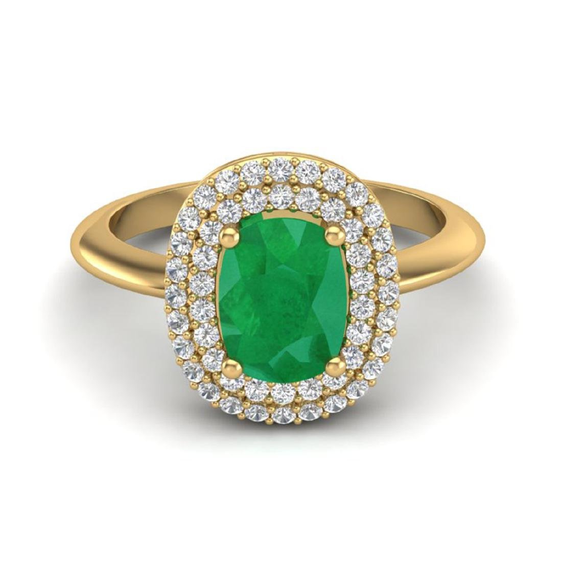 2.50 CTW Emerald & VS/SI Diamond Ring Halo 14K Gold -