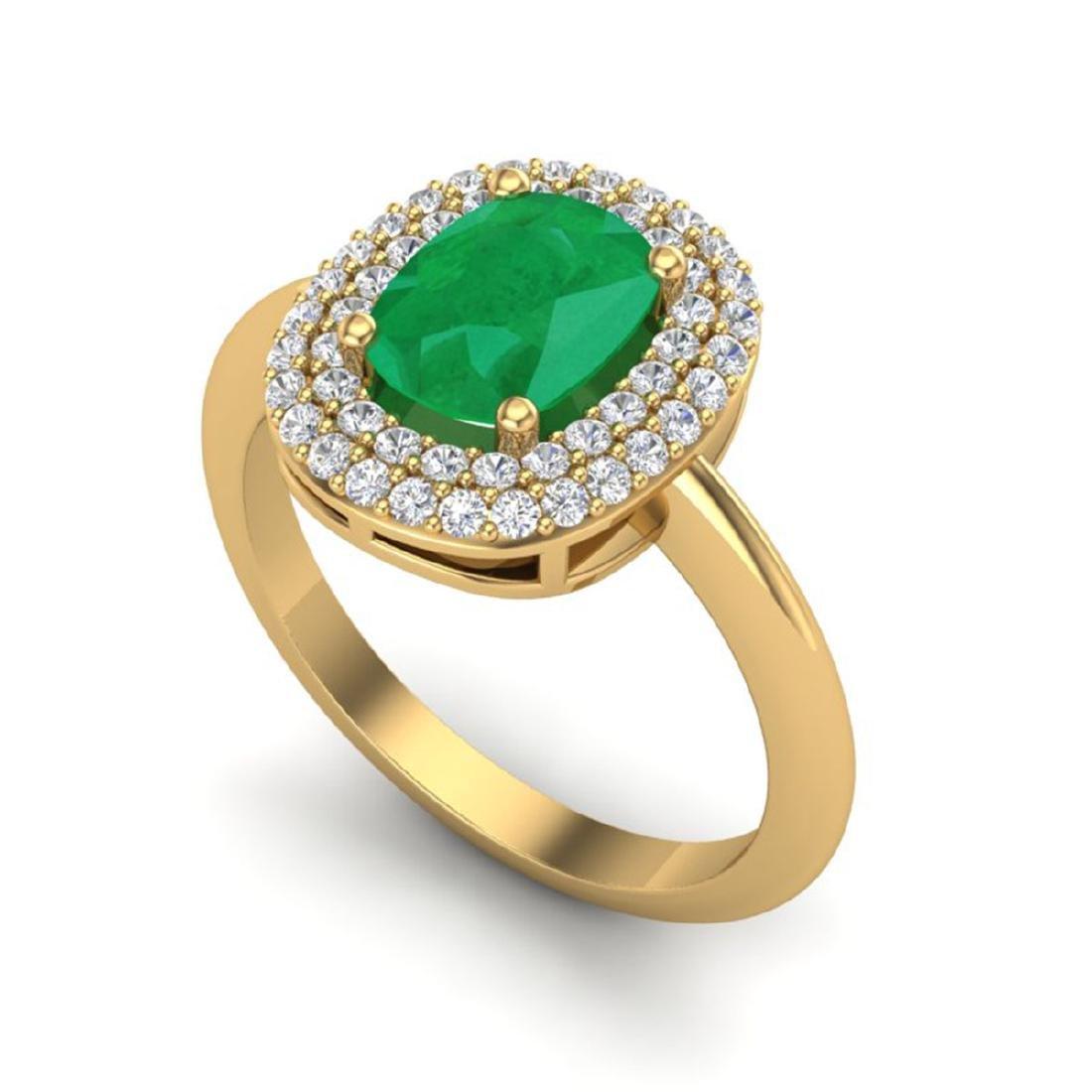 2.50 CTW Emerald & VS/SI Diamond Ring Halo 14K Gold - - 2
