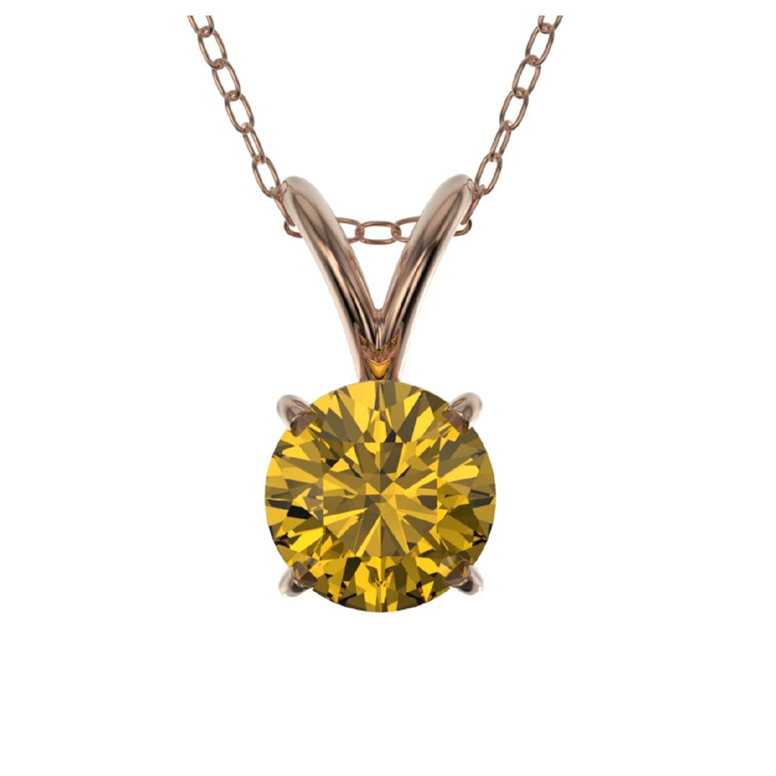 0.53 CTW Intense Yellow SI Diamond Solitaire Necklace