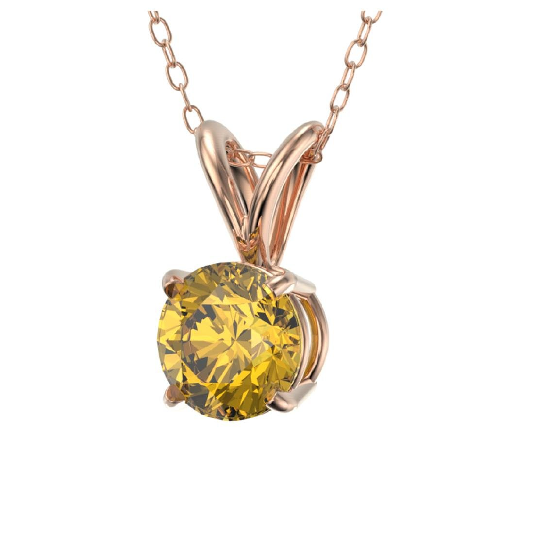 0.53 CTW Intense Yellow SI Diamond Solitaire Necklace - 2