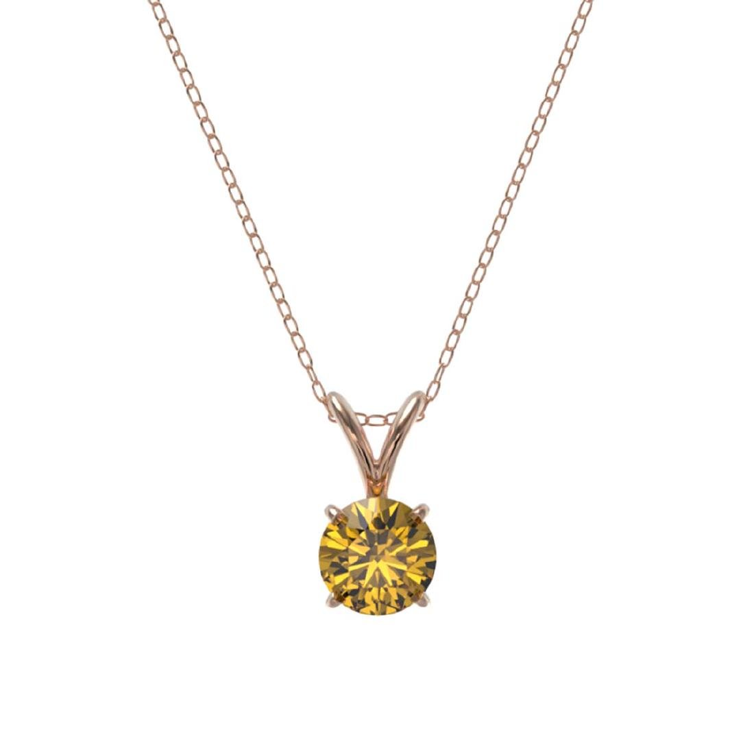 0.53 CTW Intense Yellow SI Diamond Solitaire Necklace - 3