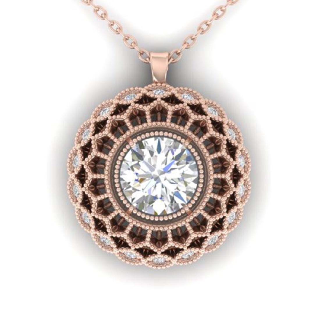 1.25 CTW VS/SI Diamond Art Deco Necklace 18K Gold -