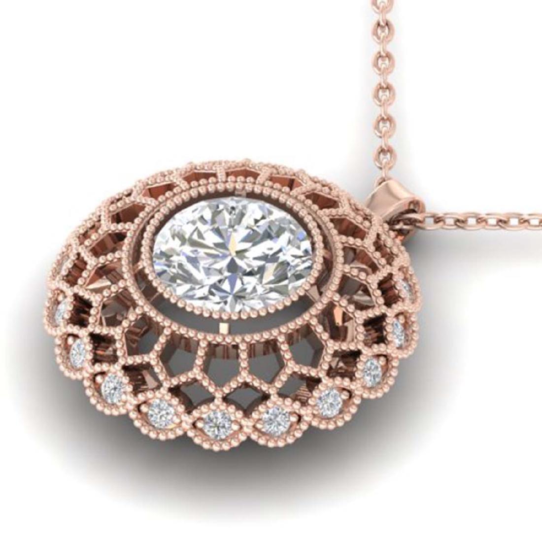 1.25 CTW VS/SI Diamond Art Deco Necklace 18K Gold - - 2