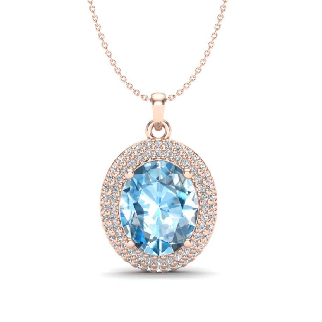 5 CTW Sky Blue Topaz & VS/SI Diamond Necklace 14K Gold