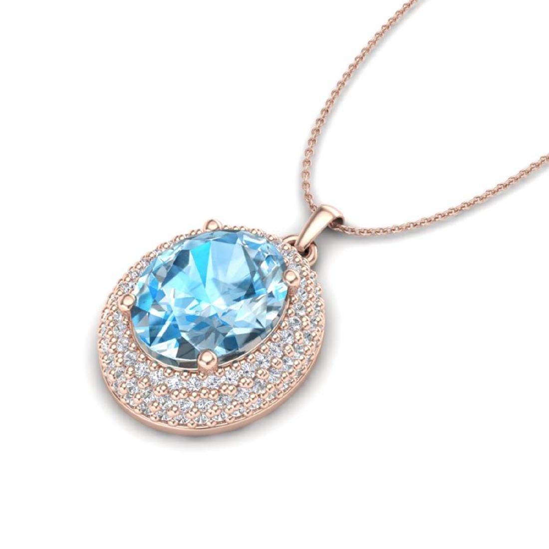 5 CTW Sky Blue Topaz & VS/SI Diamond Necklace 14K Gold - 2