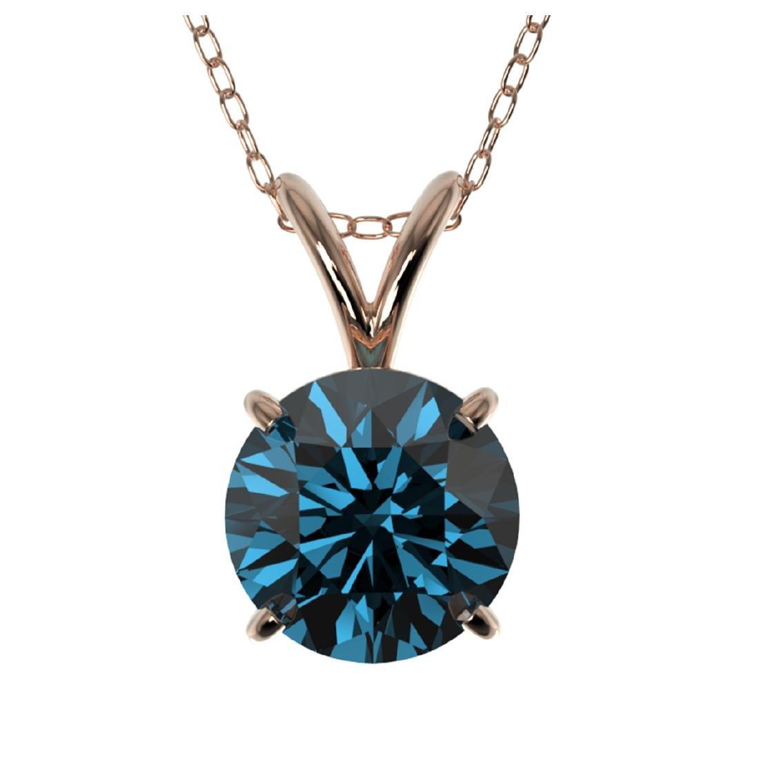 1.28 CTW Intense Blue SI Diamond Solitaire Necklace