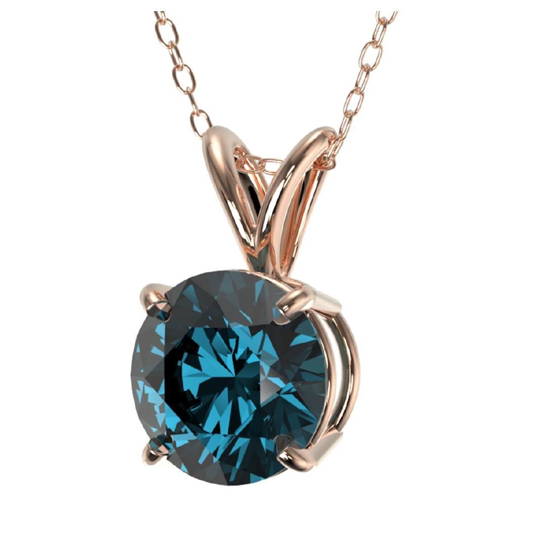 1.28 CTW Intense Blue SI Diamond Solitaire Necklace - 2