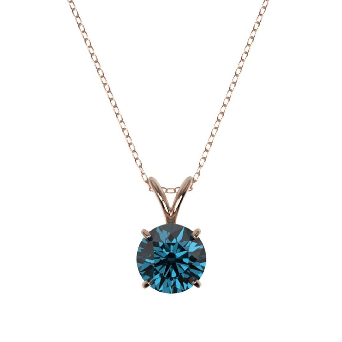 1.28 CTW Intense Blue SI Diamond Solitaire Necklace - 3