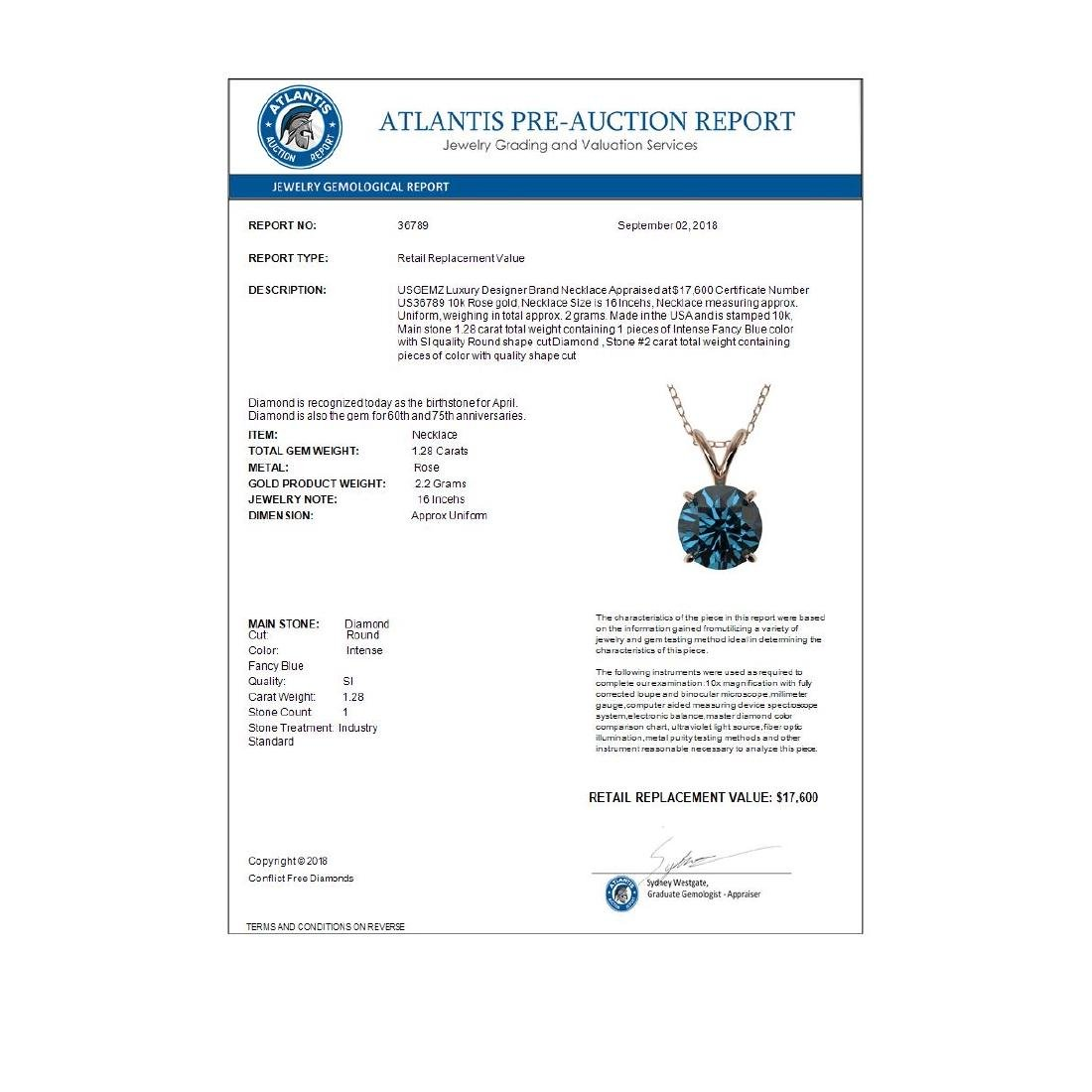 1.28 CTW Intense Blue SI Diamond Solitaire Necklace - 4
