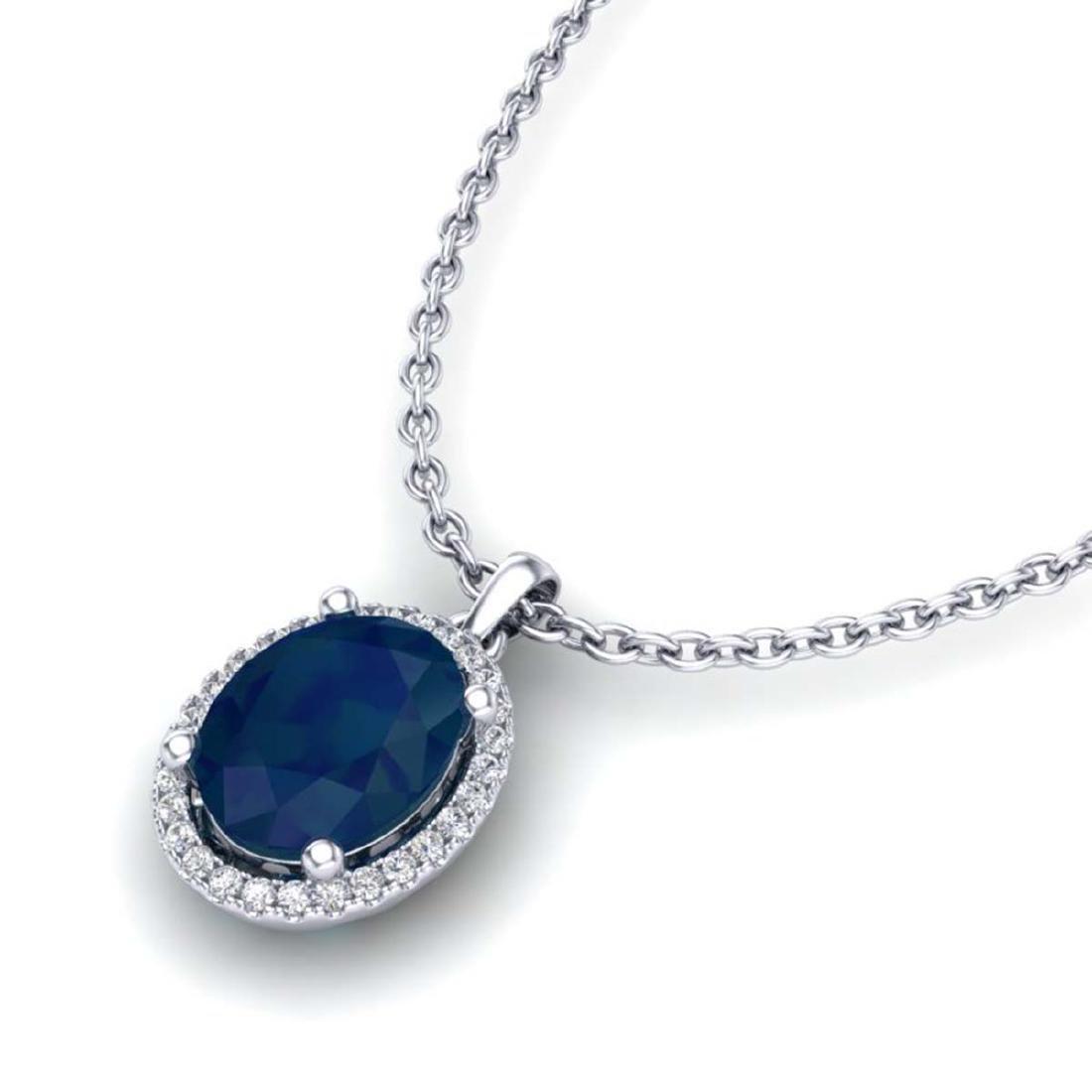 3 CTW Sapphire & VS/SI Diamond Necklace Halo 18K Gold -