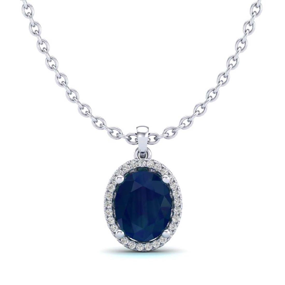 3 CTW Sapphire & VS/SI Diamond Necklace Halo 18K Gold - - 2