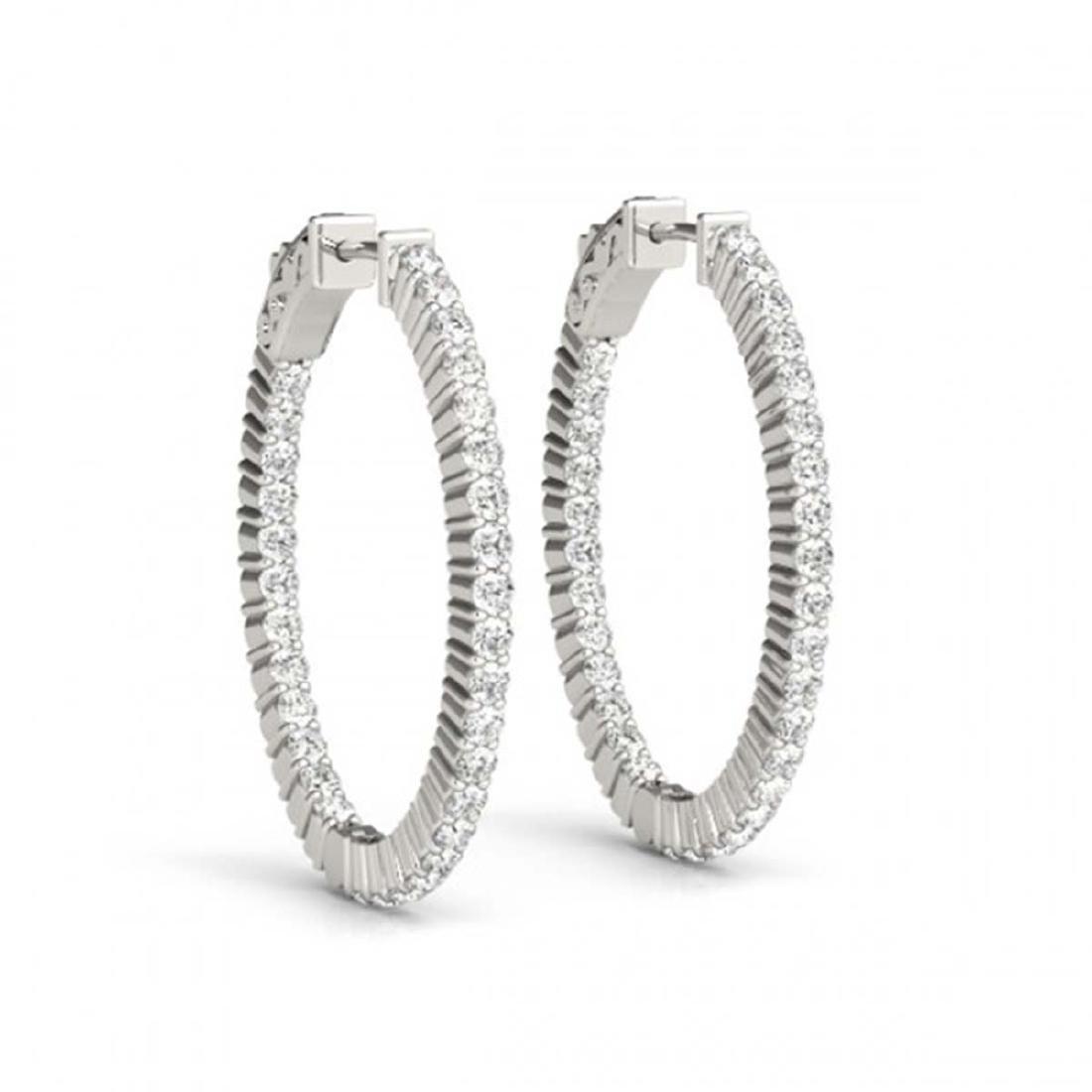 5 CTW Diamond VS/SI 32 Mm Hoop Earrings 14K White Gold - 2
