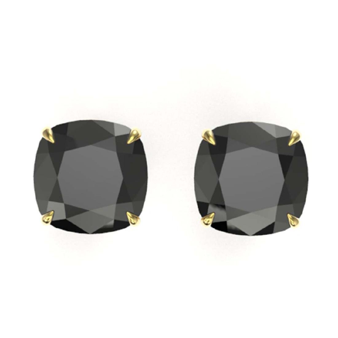 12 CTW Cushion Cut Black VS/SI Diamond Stud Earrings