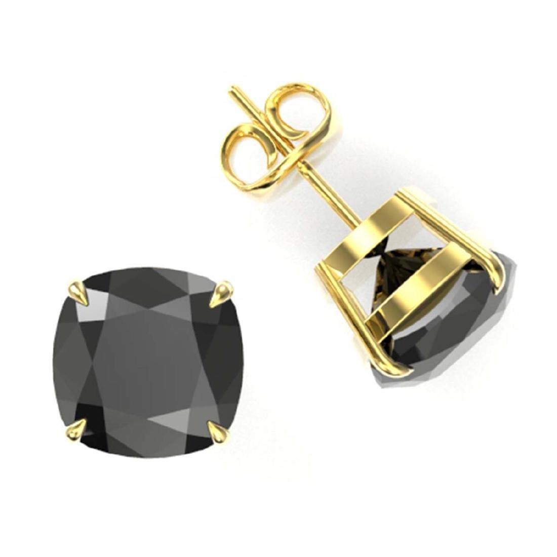 12 CTW Cushion Cut Black VS/SI Diamond Stud Earrings - 2