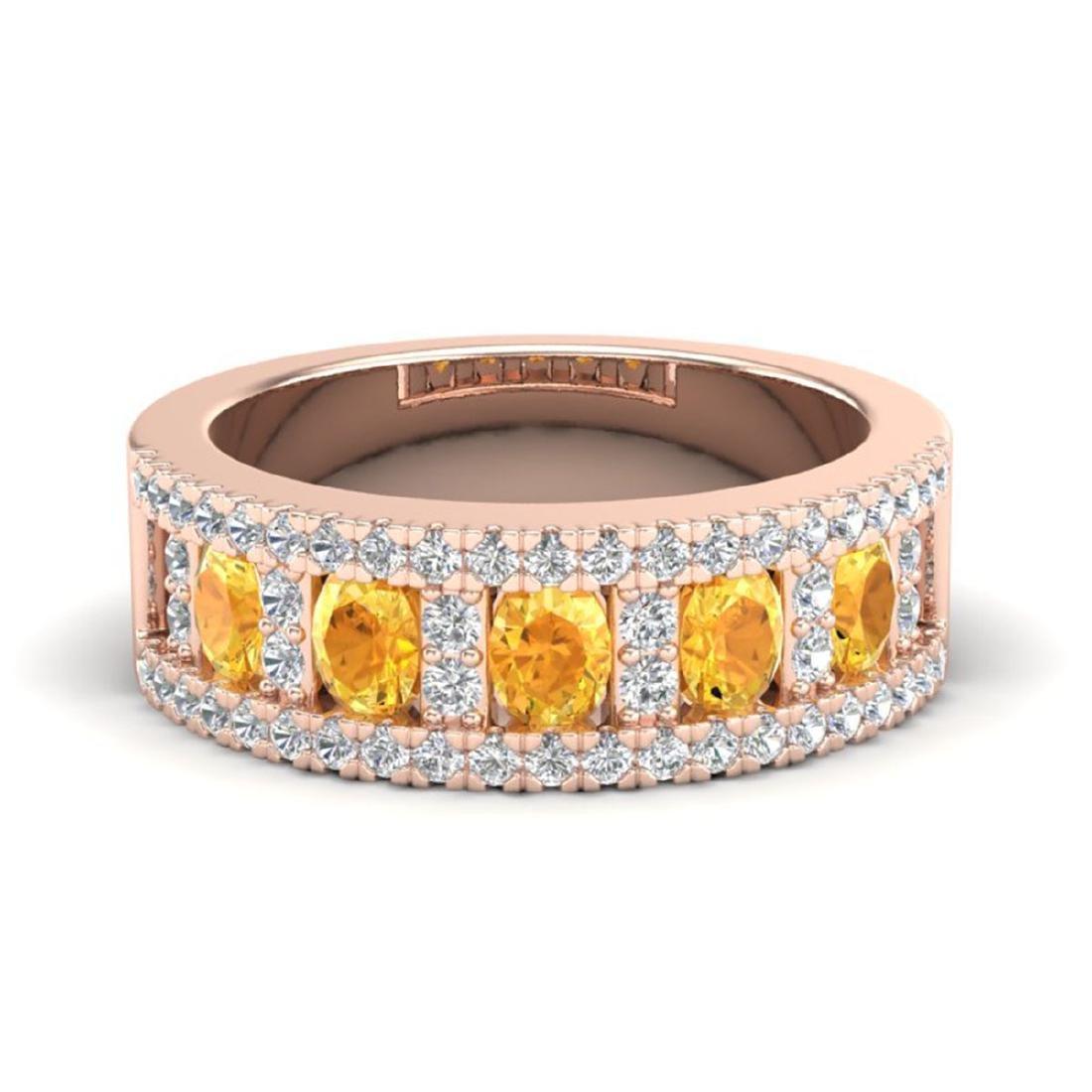2 CTW Citrine & VS/SI Diamond B& Ring Gold - REF-61G8N