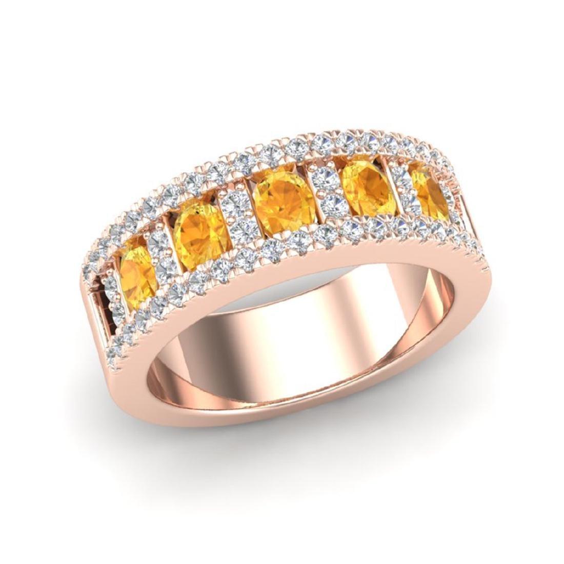 2 CTW Citrine & VS/SI Diamond B& Ring Gold - REF-61G8N - 2
