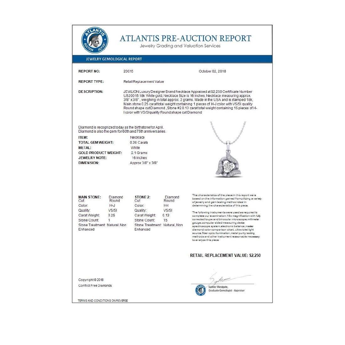 0.38 CTW VS/SI Diamond Halo Necklace 18K Gold - - 3