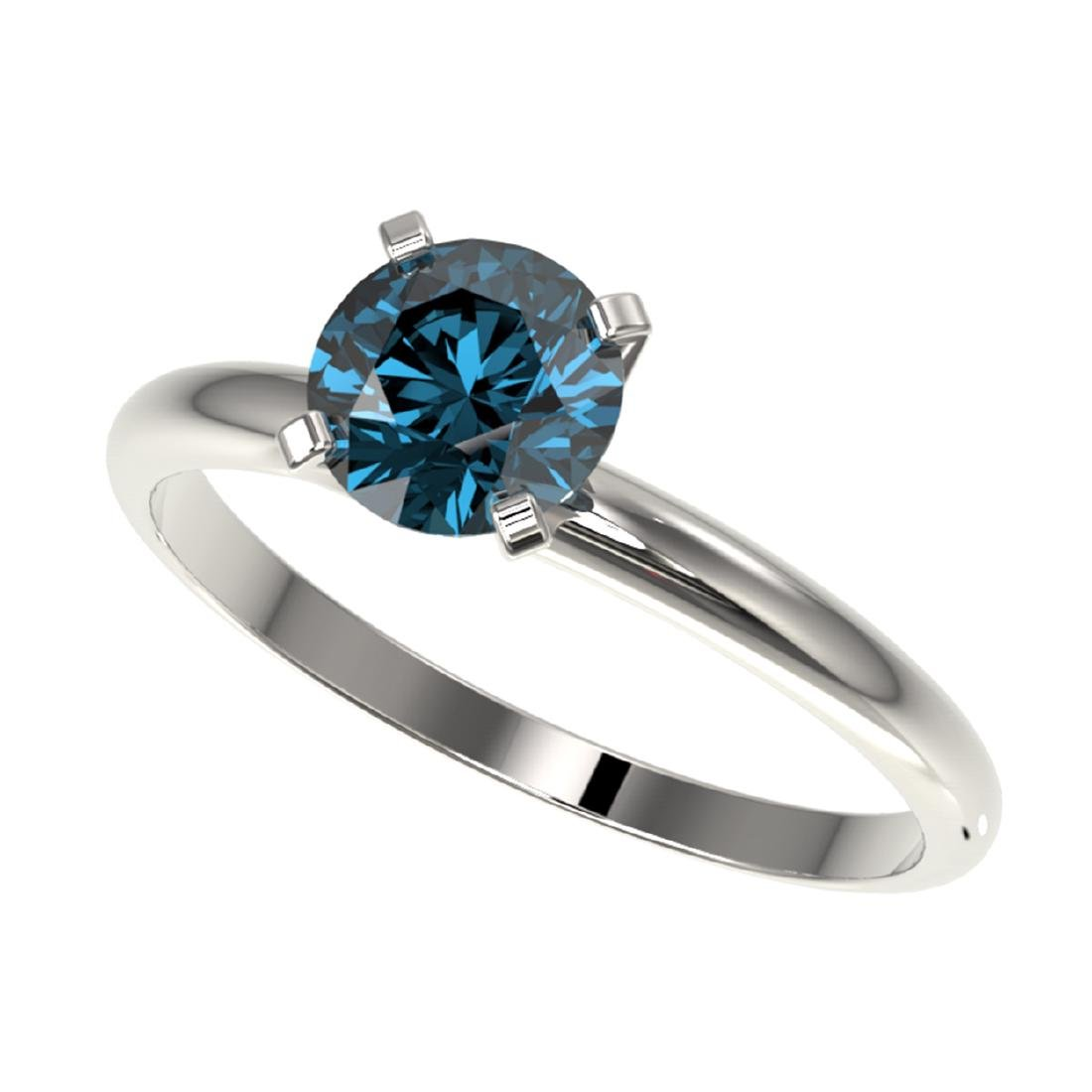 1 CTW Intense Blue SI Diamond Solitaire Ring Gold -