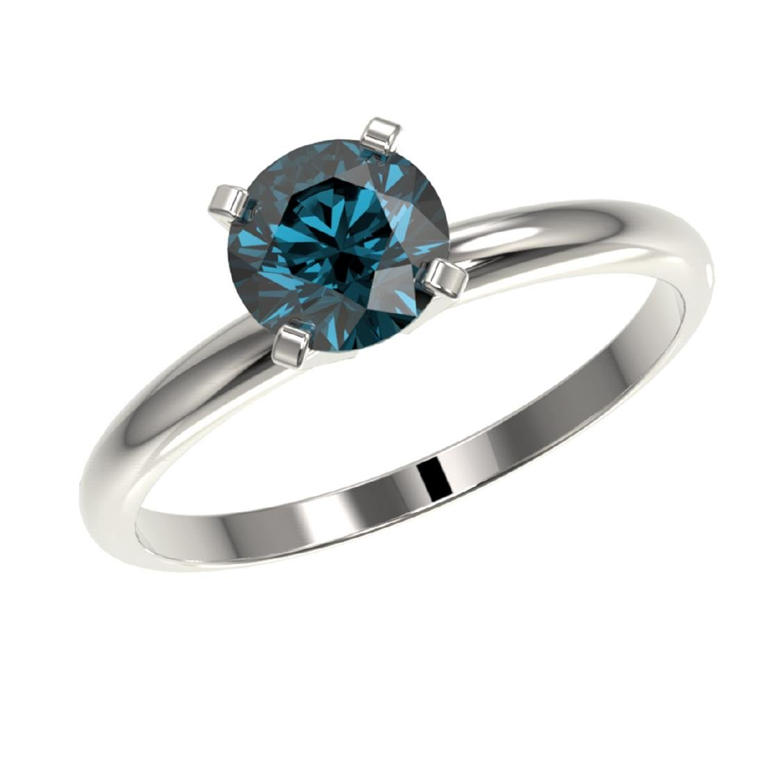1 CTW Intense Blue SI Diamond Solitaire Ring Gold - - 2