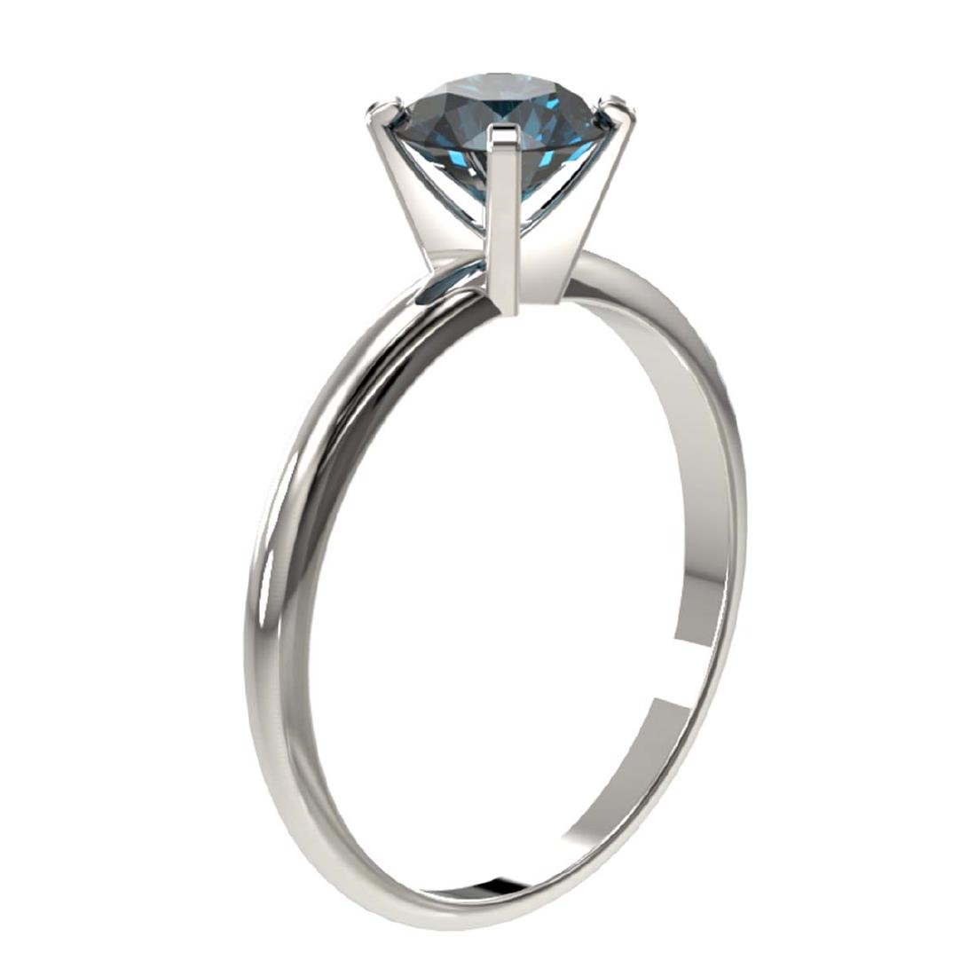 1 CTW Intense Blue SI Diamond Solitaire Ring Gold - - 3