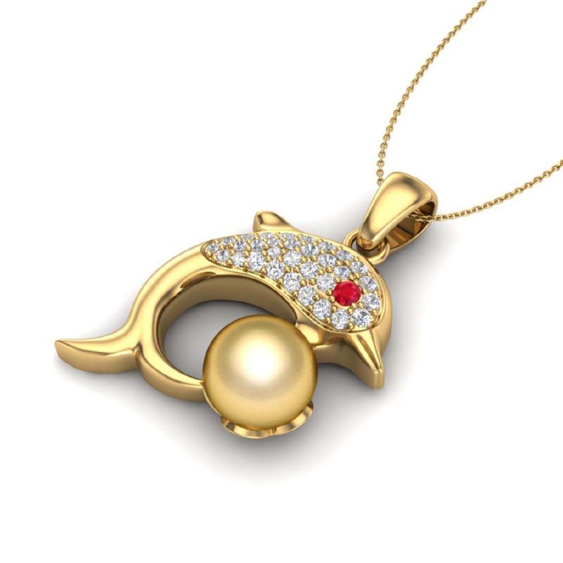 0.65 CTW Diamond & Golden Pearl Dolphin Necklace 14K