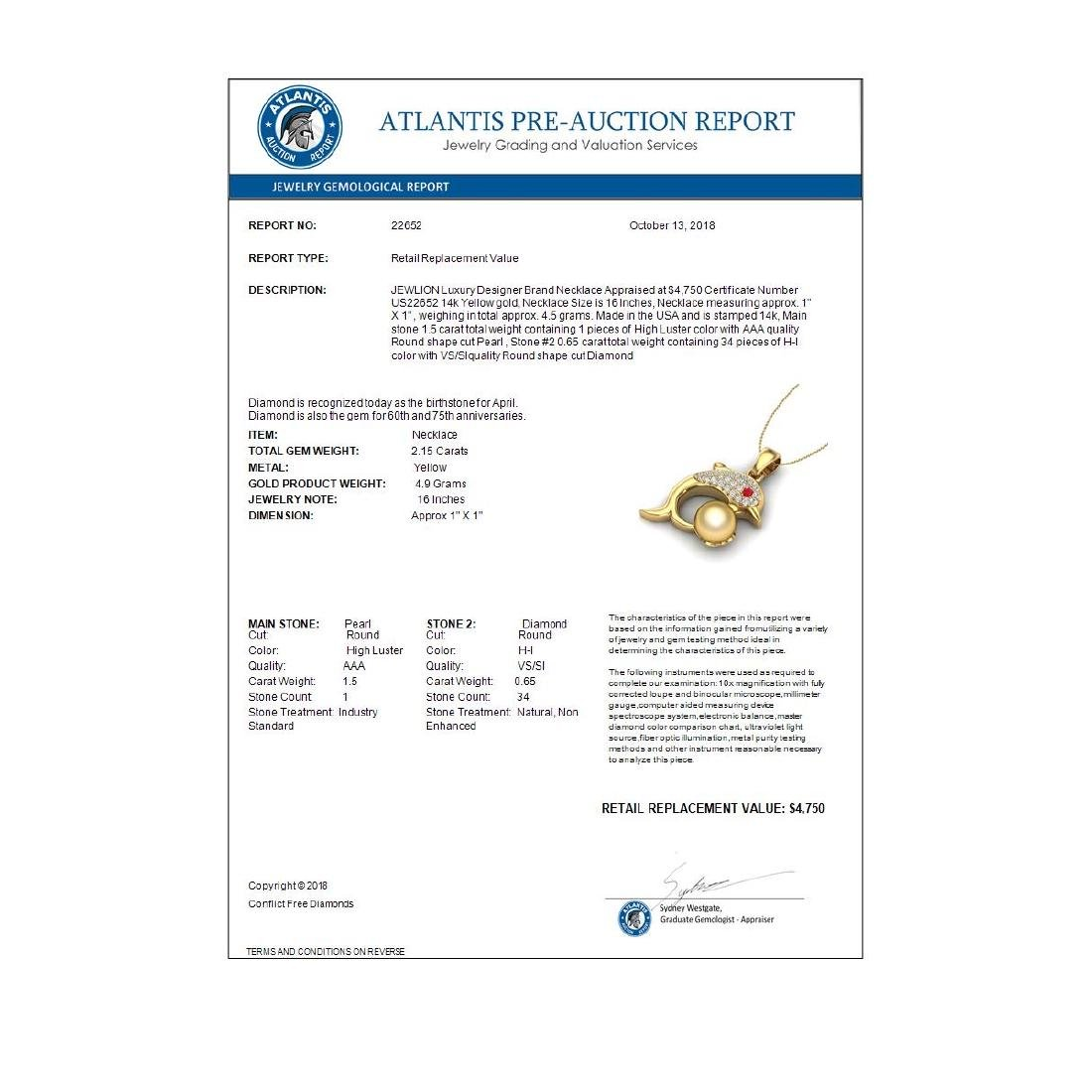 0.65 CTW Diamond & Golden Pearl Dolphin Necklace 14K - 3