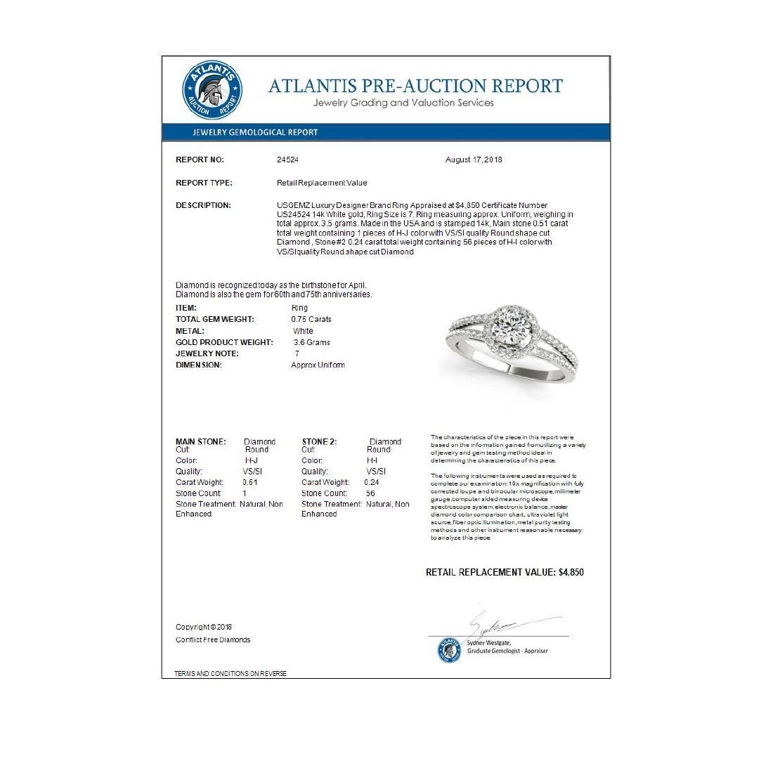0.75 CTW VS/SI Diamond Solitaire Halo Ring 14K White - 3