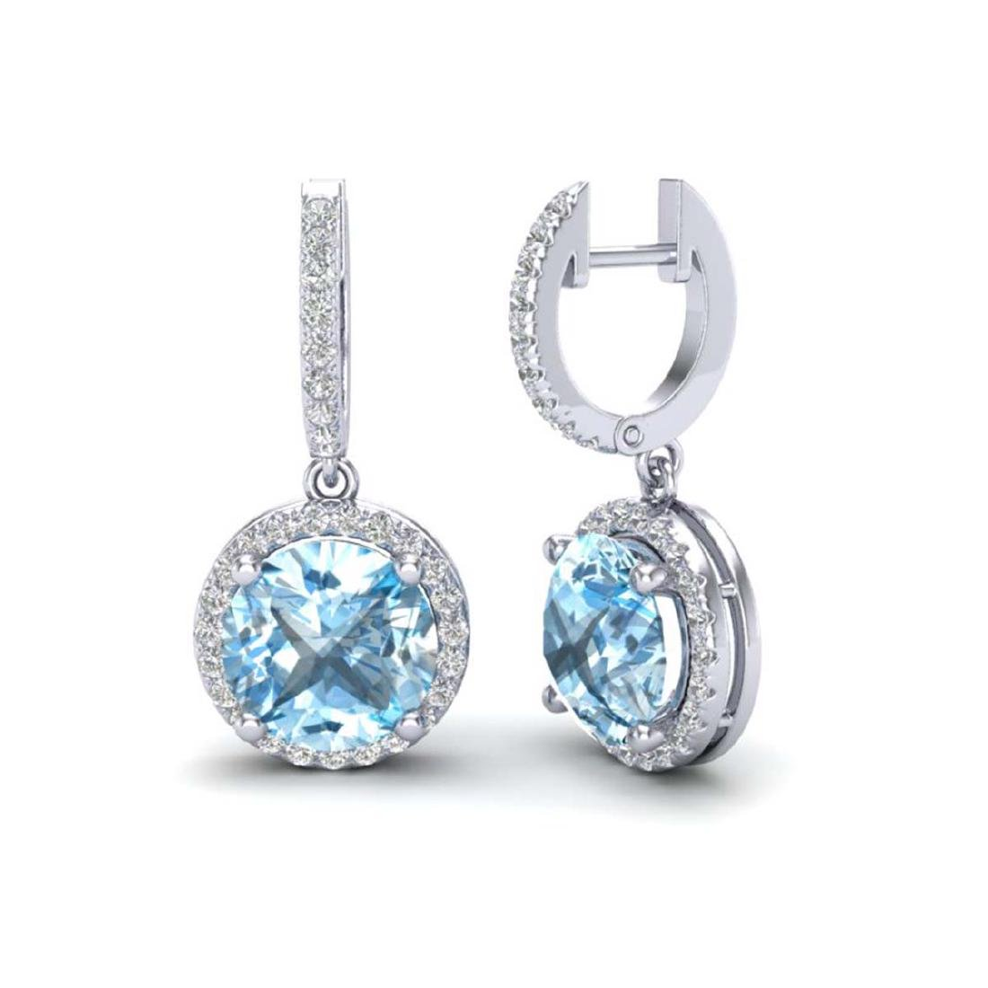 5.50 CTW Sky Blue Topaz & VS/SI Diamond Halo 18K Gold - - 2