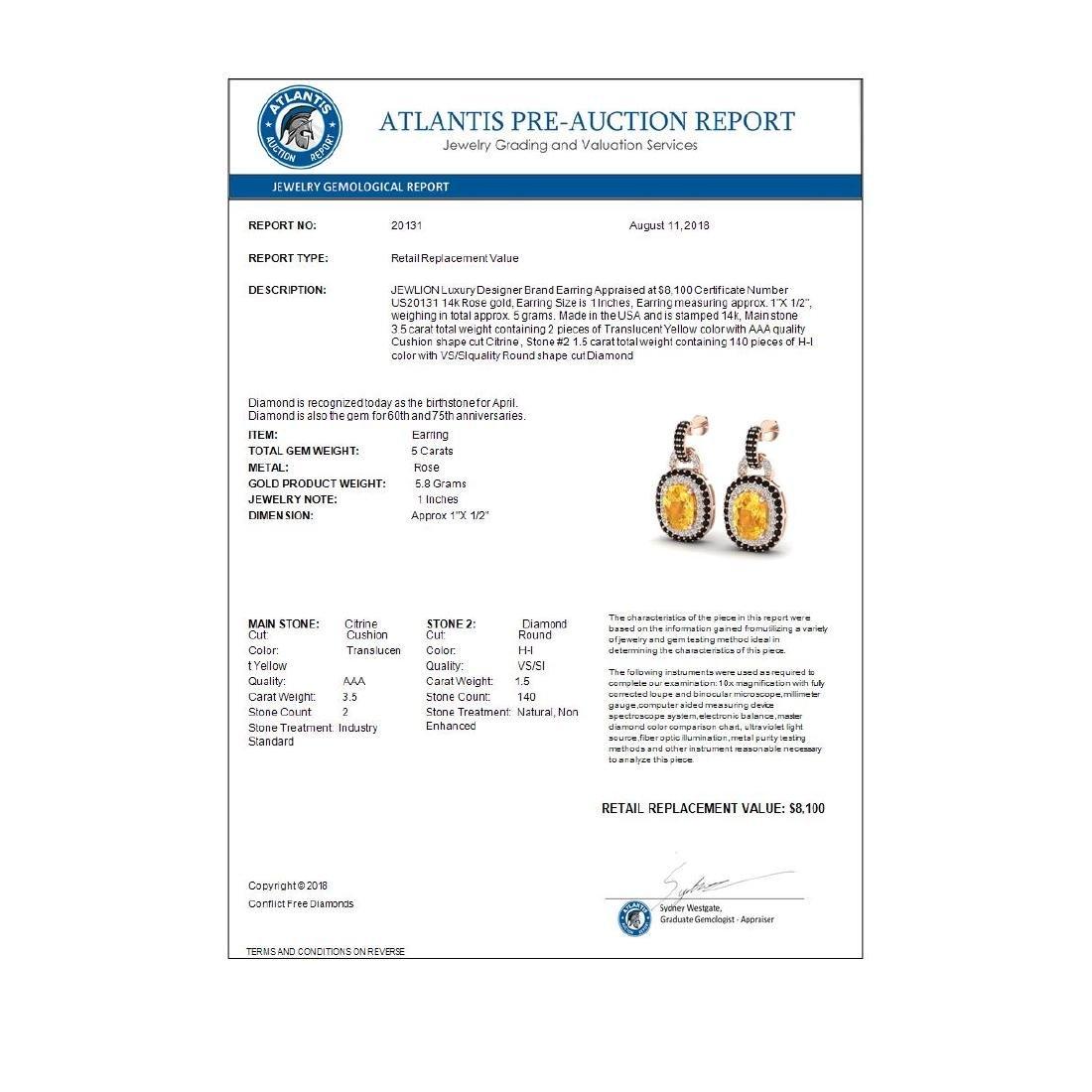 5 CTW Citrine & Black VS/SI Diamond Earrings Halo 14K - 3