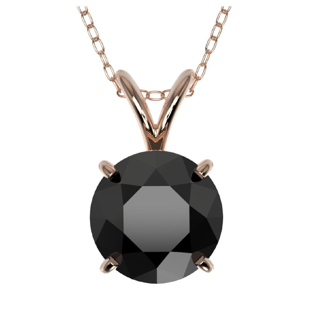 1.59 CTW Fancy Black VS Diamond Solitaire Necklace Gold