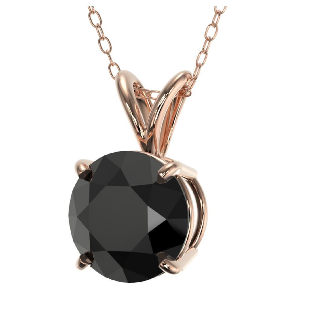1.59 CTW Fancy Black VS Diamond Solitaire Necklace Gold - 2